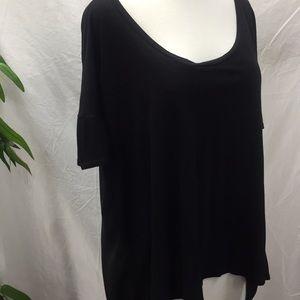 Lush Black Hi/Lo Short Sleeve Top